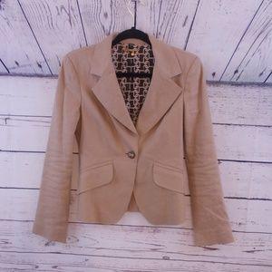 bebe linen blend brown tan blazer size 6